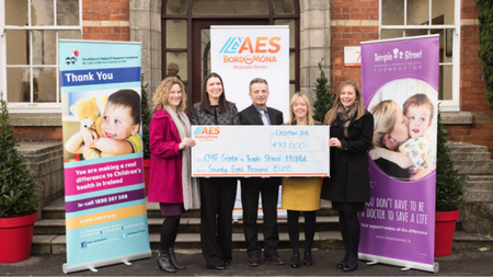 AES donates €78,000 to irish charities Temple Street Children's University Hospital and Our Lady's Children's Hospital, Crumlin.